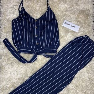Striped Single Breasted Knot Cami Top With Pants